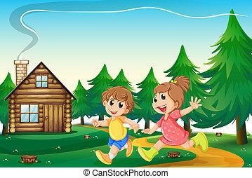 utanför, spelande logera, trä, hilltop, lurar