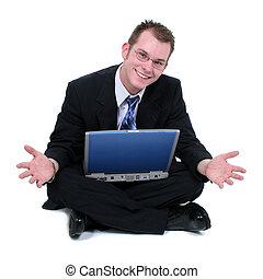 ute, bemanna sitta, laptop, golv, affärsverksamhet lämnar