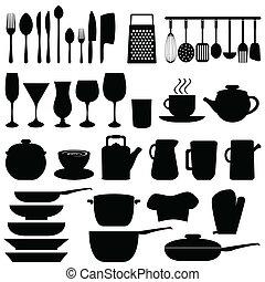 utensils, objekt, kök