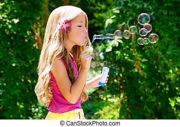 utomhus, tvål, blåsning, skog, bubblar, barn