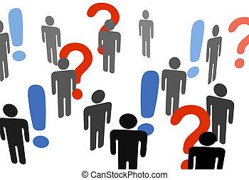utrop, information, leta, folk, ifrågasätta markerar