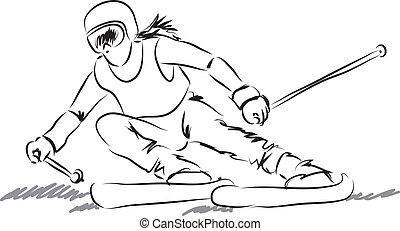 utrustning, kvinna, illustrati, skida