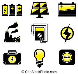 utrustning, sätta, elektrisk