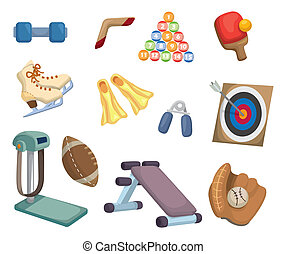 utrustning, sports, tecknad film, ikonen