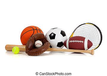 utrustning, vit, blandad, sports