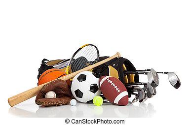 utrustning, vit, sports, bakgrund, blandad