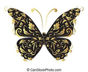 utsirad, design, din, fjäril