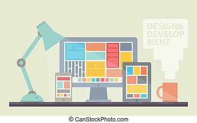 utveckling, nät formge, illustration