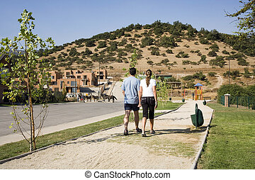 utveckling, par, förorts-, vandrande