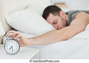 väck, alarm, man, existens, klocka, förbrukad