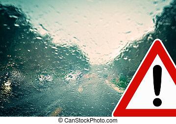 väder, -, dålig, varning, drivande