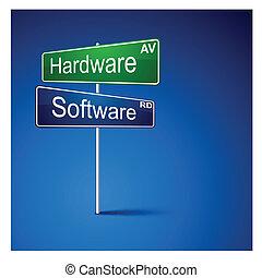 väg, mjukvara, riktning, skylt., järnvaror