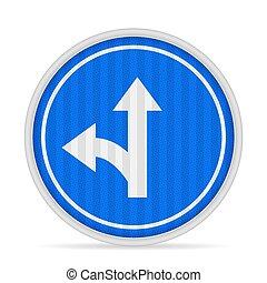 väg, vänster, eller, klart enda, underteckna