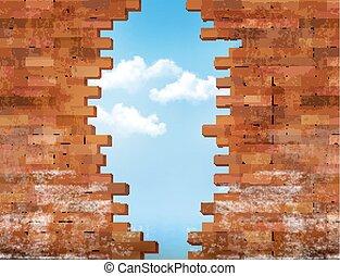vägg, årgång, hole., vektor, bakgrund, tegelsten