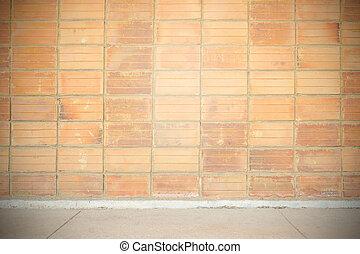 vägg, årgång, tegelsten, gammal, bakgrund
