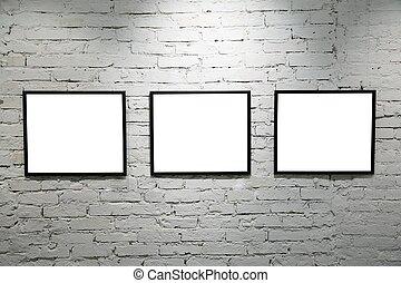 vägg, 2, svart, inramar, vita tegelsten