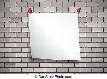 vägg, anteckna, tegelsten, papper, bakgrund