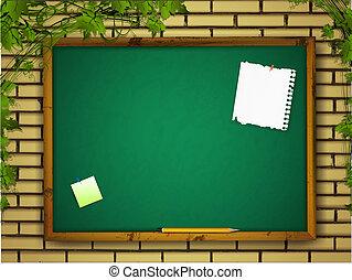 vägg, blackboard, tegelsten