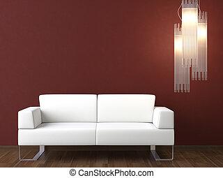 vägg, couch, design, inre, vit, bordeaux