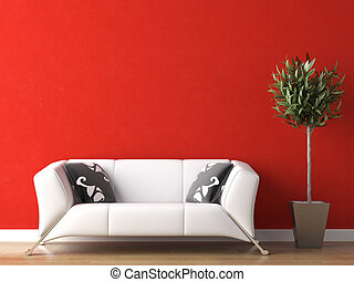 vägg, couch, design, inre, vit röd