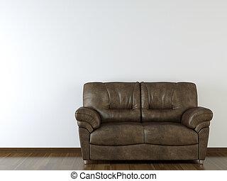 vägg, couch, läder, design, inre, vit