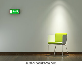 vägg, design, inre, gröna vita, stol