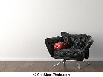 vägg, design, inre, svart, stol, vit