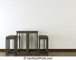 vägg, design, inre, svart, vit, möblemang