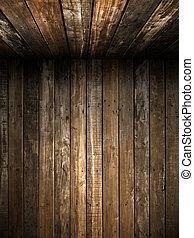 vägg, gammal, innertak, ved, grunge