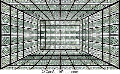 vägg, glas, rum, kvarter