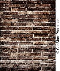 vägg, grungy, tegelsten, gammal, struktur