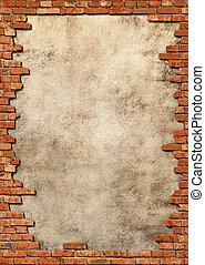 vägg, grungy, tegelsten, ram