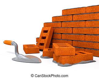 vägg, hus, tegelsten, konstruktion, färsk