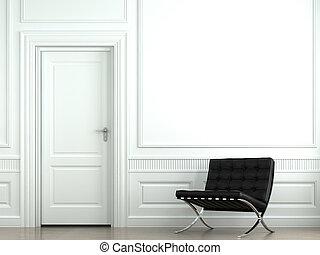 vägg, inre, stol, design, klassisk