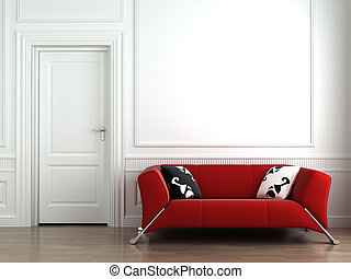 vägg, inre, vit röd, couch