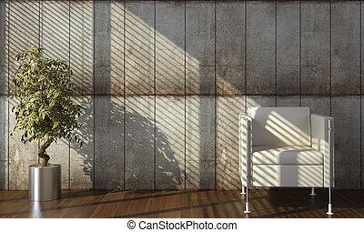 vägg, konkret, heminredning, fåtölj