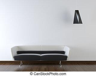 vägg, nymodig, couch, design, inre, vit