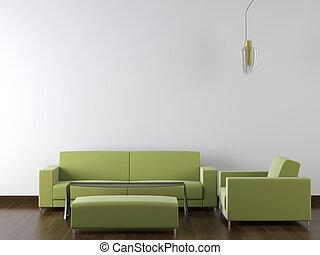 vägg, nymodig, design, inre, gröna vita, möblemang