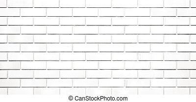 vägg, panorama, struktur, bakgrund, vita tegelsten