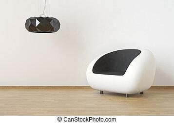 vägg, scen, design, ren, inre, svart, vit, möblemang
