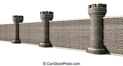 vägg, slott, gotisk, perspektiv