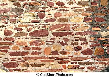 vägg, sten, forntida, kvarter