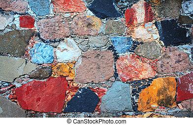 vägg, sten spärrar, struktur
