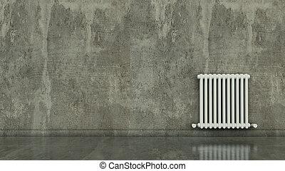 vägg, tömma rum, radiator