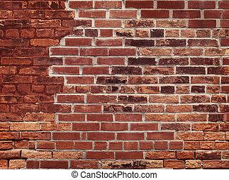 vägg, tegelsten, gammal, röd