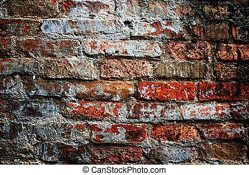 vägg, tegelsten, gammal, struktur, bakgrund
