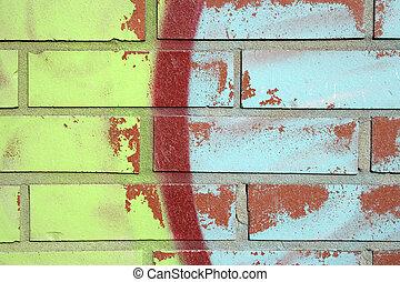 vägg, tegelsten, graffiti, färgrik