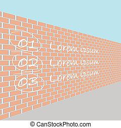vägg, tegelsten, perspektiv