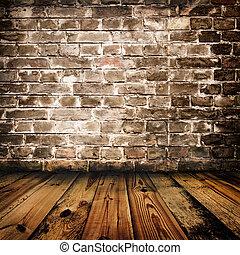 vägg, trä, tegelsten, grunge, golv