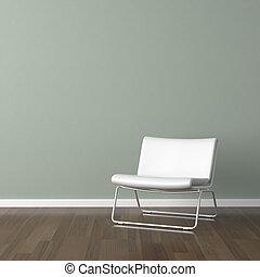 vägg, vit, nymodig, grönt stol
